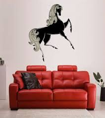Cik231 Full Color Wall Decal Horse Ravens Animal Living Bedroom Stickersforlife