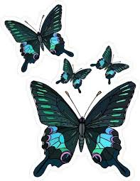 Amazon Com 4 Blue Black Butterflies Etched Vinyl Stained Glass Film Static Cling Window Decal Home Kitchen