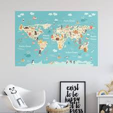 Re Positionable Kids World Map Wallboss Wall Stickers Wall Art Stickers Uk Wall Stickers Bespoke Design