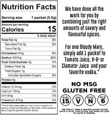 clamato juice nutrition label