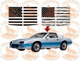 T Tops Flag Decal 3rd Gen Trans Am Camaro Lycan004 Maker Shop In 2020 Flag Decal American Flag Decal Camaro