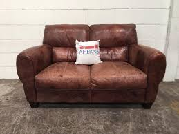 brown leather dfs hobart sofa 2 seater
