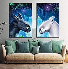 Amazon Com Canvas Poster Movie How To Train Your Dragon 3 The Hidden World Toothless Night Fury Picture Print Wall Painting Home Decor Baby