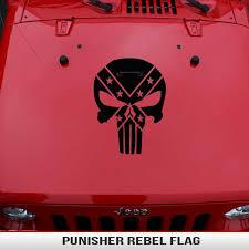 Punisher Rebel Flag Hood Decal Alphavinyl