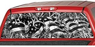 Amazon Com Motorink American Flag Buck Skull Tallgrass Black White Camo Rear Window Graphic Decal Tint Sticker Truck Suv Ute Camouflage Large 22 X 66 Automotive