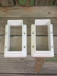 2 Pvc Post Fence Deck Rail Mount With 8 Plugs 2 X 3 1 2 Bracket Hangers White Ebay