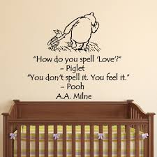 Amazon Com Wall Decals Nursery Winnie The Pooh How Do You Spell Love Classic Winnie The Pooh Wall Decal Quote Aa Milne Children Kids Room Decor Q203 Baby