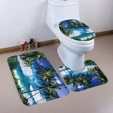 fleece seaside palm tree toilet rugs