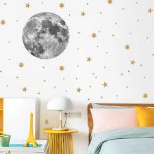 Moon Earth Cartoon Diy Wall Stickers For Kids Room Bedroom Pvc Golden Stars Decorative Wall Stickers Home Living Room Decor Leather Bag
