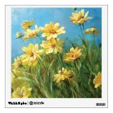 Beautiful Yellow Daisies Wall Decal Zazzle Com