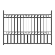 Aleko Paris Style 5 Ft X 8 Ft Black Iron Fence Panel Fencepar Hd The Home Depot