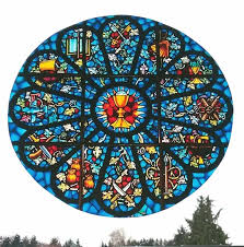 rose window stained glass window cling