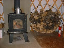 woodstove on a sheet of cement board