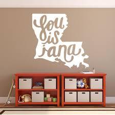Louisiana Home Decor State Vinyl Wall Decal With Louisiana In Cursive Customvinyldecor Com