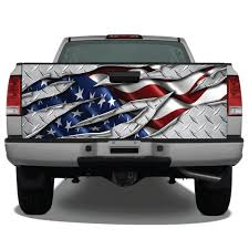 American Flag Ripped Metal Diamond Plate Truck Tailgate Wrap Etsy