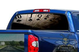 Play Cards Rear Window Stickers Toyota Tundra Perforated Decals