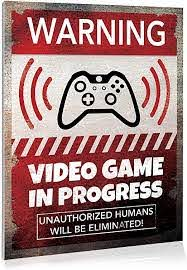 Amazon Com Video Game Room Sign Wall Decor 9 X 12 Gaming Room Retro Video Game Sign Danger Sign Funny Gag Gift Decorative Signs For Kids Room Corrugated Plastic Warning Alert Video Gaming