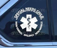 You Choose Text Special Needs Medical Alert Car Window Decal Etsy