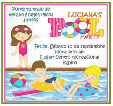 Fiesta Piscina Pool Party Invitacion Tarjeta De Invitacion