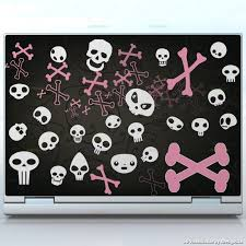 Bone Land Cute Skulls And Bones Laptops Custom Size Laptop Decal Skin Wrap Sticker Skulls Horror