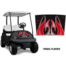 Amazon Com Amr Racing Golf Cart Hood Graphics Kit Sticker Decal Compatible With Club Car Precedent I2 2008 2013 Tribal Flames Red Automotive