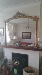 ornate antique overmantle mirror gilt