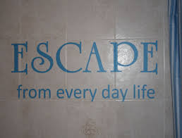 Bathroom Wall Design Wall Decals Stickers Escape From Every Day Life Vinyl Wall Design