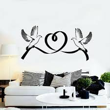 Vinyl Wall Decal Doves Bird Marriage Love Heart Romantic Couple Bedroom Living Room Wall Stickers Nursery Church Art Mural S1169 Wall Stickers Aliexpress