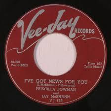 PRISCILLA BOWMAN & JAY MCSHANN: i've got news for you / my darkest night |  Craig Moerer Records By Mail