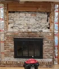 removed outer brick on an old fireplace