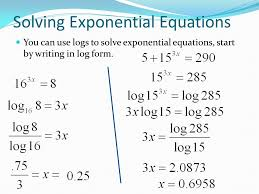 solve equations using logarithms and