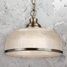 antique brass holophane pendant light