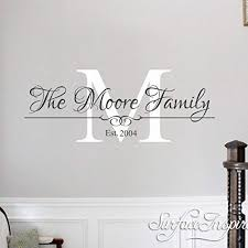 Amazon Com Wall Decals Wall Stickers Family Name Monogram Removable Wall Decal Sticker Surface Inspired 1063 Handmade