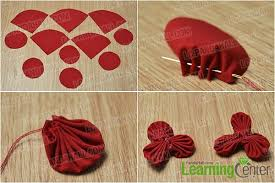 diy a red fabric flower hair comb with