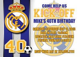 Real Madrid Birthday Invitation Card