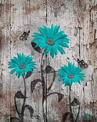 Teal Brown Wall Art Daisy Flowers Butterflies Rustic Home Decor 11x14 Inch Picture With 11x14 Inch White Mat Ready To Flower Painting Color Splash Art Art