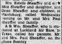 Dean Sheaffer and children of Harrisburg, visited with Mr/Mrs Paul Sheaffer.  - Newspapers.com
