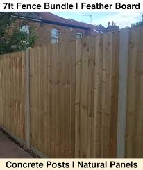 7ft 2100mm Feather Board Fence Pack Natural Green