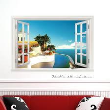3d Fake Window Wall Stickers Home Decor Living Room Seascape Wall Decals Vinyl Art Sticker Removable Window Wall Sticker Wall Stickerstickers Home Decor Aliexpress