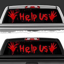 Amazon Com Simynola Help Us Horror Blood Perforated Film Car Accessories Truck Window Wrap Car Truck Decal Car Idea Suv Decal For Truck N38 Frst 18 X 58 Sports Outdoors