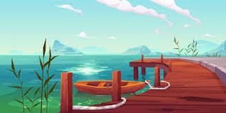 Muelle de madera y barco en el paisaje natural del río   Vector Gratis