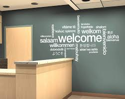 Amazon Com Welcome Sign Decal Welcome Wall Sticker Welcome In Many Languages Decor Welcome Design Wall Art Design All Languages Room Mural And Stick Wall Decals Home Kitchen