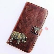 elephant leather phone wallet flip case