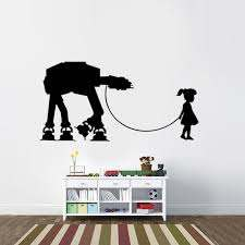 Star Wars Inspired Girl And Her Pet At At Vinyl Wall Decal