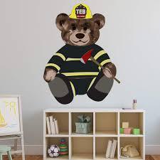 Vwaq Firefighter Teddy Bear Wall Decal Fireman Bedroom Sticker Kids Decor Teb4 Walmart Com Walmart Com