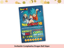 Invitacion Cumpleanos Dragon Ball Super The Dragonfly Ideas Shop