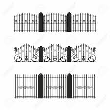 A Set Of Various Simple Modular Metal Fence Silhouettes Horizontally Royalty Free Cliparts Vectors And Stock Illustration Image 152423546
