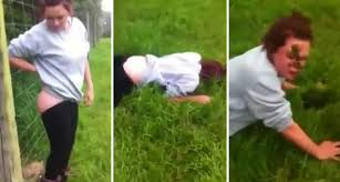 Electric Fence Butt Shock Stunt Funny Video