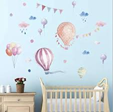 Amazon Com Colourful Hot Air Balloons Wall Decals Stickers Kids Colorful Hot Air Balloon Cloud Raindrop Balloon Wall Decals Removable Wall Stickers For Kids Nursery Bedroom Living Room Baby