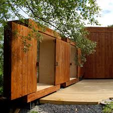 wooden sheds by rever drage featuring